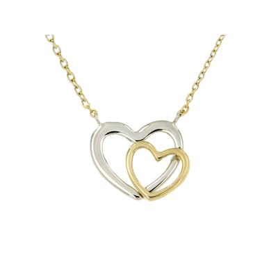 14 Karaat bicolor ketting met hanger dubbel hart