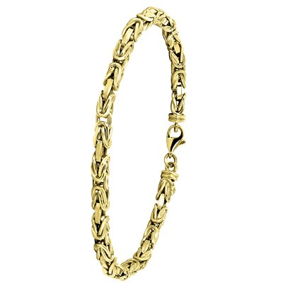14 Karaat geelgouden armband koningsschakel