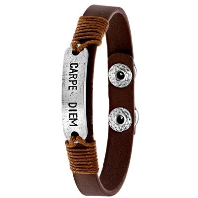 Bruine byoux armband met bedel