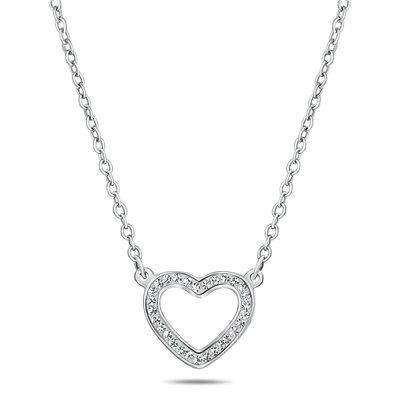 Stalen ketting open hart met met kristal