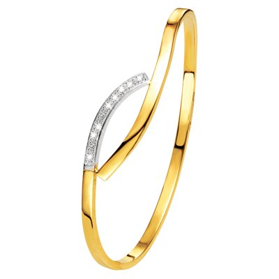 14 Karaat bicolor armband bangle met zirkonia