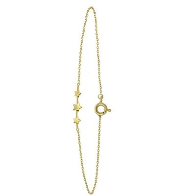 14 karaat geelgouden armband 3 sterren