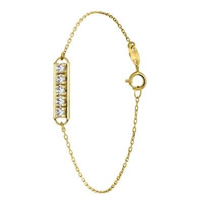 14 Karaat geelgouden armband 5 zirkonia