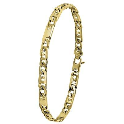 14 Karaat geelgouden armband fantasie massief