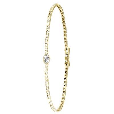 14 Karaat geelgouden armband met diamant 0,06ct