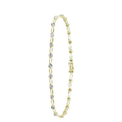 14 Karaat geelgouden armband met diamant 0,30ct