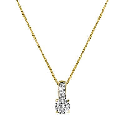14 Karaat geelgouden ketting entourage met diamant