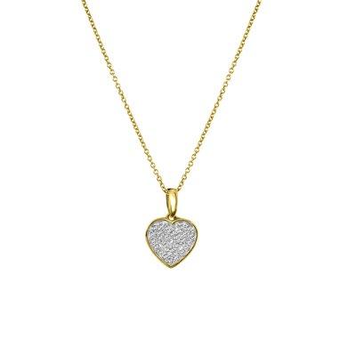 14 Karaat geelgouden ketting hanger hart 0,08ct