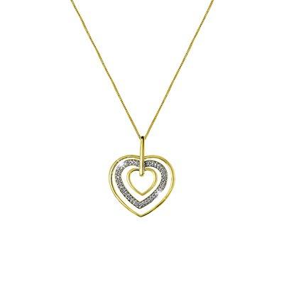 14 Karaat geelgouden ketting hart met diamant