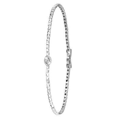 14 Karaat witgouden armband met diamant 0,06ct