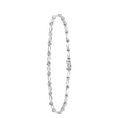 14 Karaat witgouden armband met diamant 0,30ct