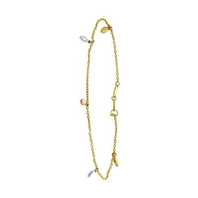 14Karaat gouden armband tricolor bedels