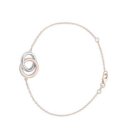 9 Karaat bicolor armband met 2 ringen