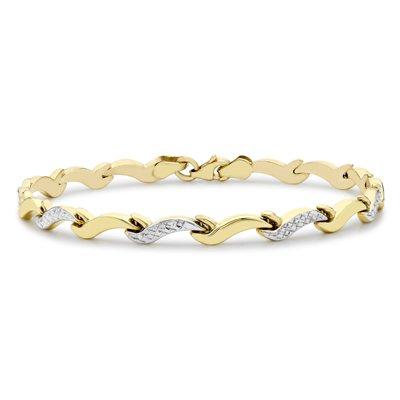 9 Karaat bicolor armband wave diamond cut