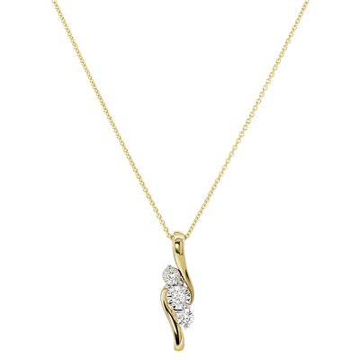 Bicolor gouden ketting met diamant 0,04ct