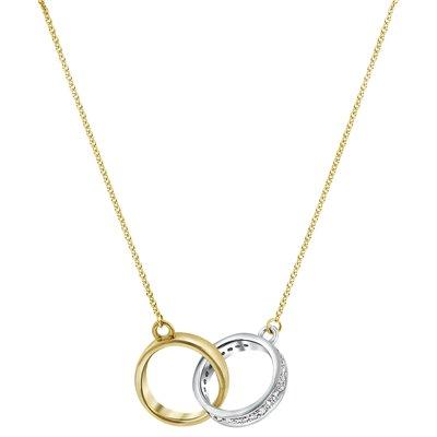 Bicolor gouden ketting met diamant 0,10ct