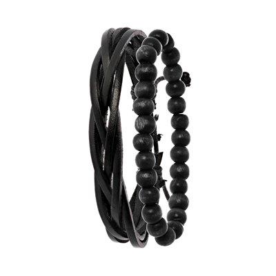 Byoux leren heren armbandenset zwart