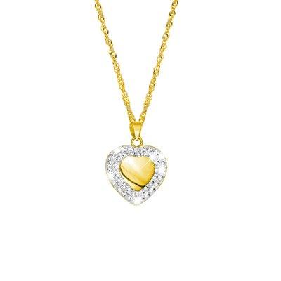 Geelgouden ketting met hanger hart