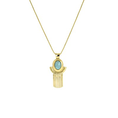 Goudkleurige byoux ketting met blauwe steen