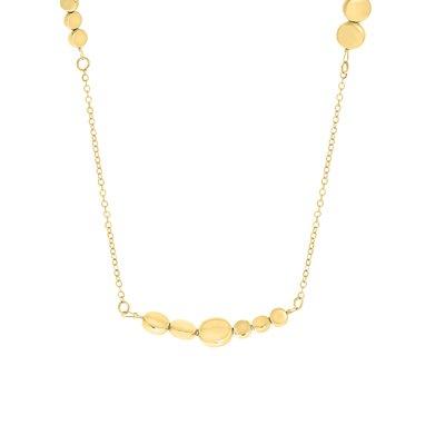 Lange goudkleurige byoux ketting met schijfjes