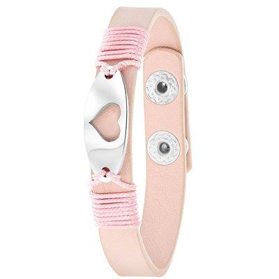 Roze byoux armband met bedel hart