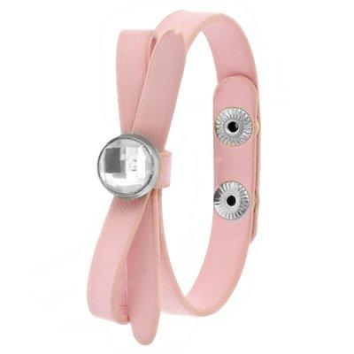 Roze byoux armbandje strik met steentje