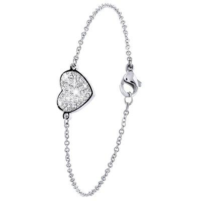 Stalen armband hart met kristal