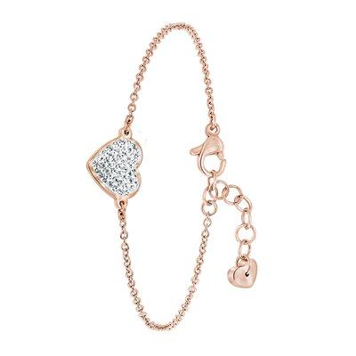 Stalen armband roseplated hart met met kristal