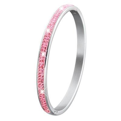Stalen kinderarmband licht roze kristal