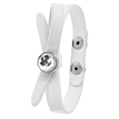 Wit byoux armbandje strik met steentje