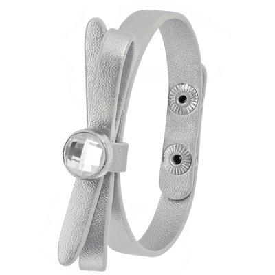 Zilverkleurig byoux armbandje strik met steentje