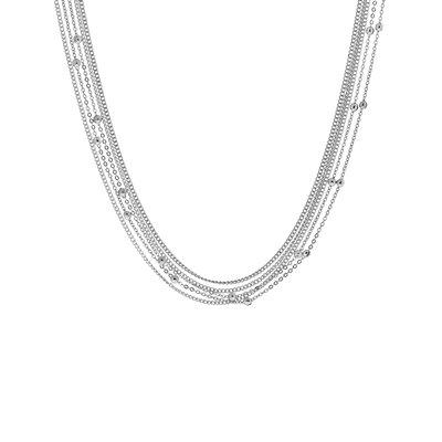 Zilverkleurige byoux ketting multi layer