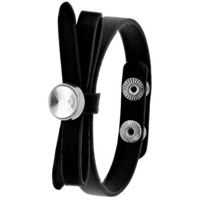 Zwart byoux armbandje strik met steentje